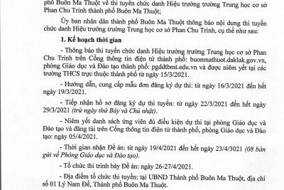 Thông báo thi tuyển chức danh Hiệu trưởng trường Trung học cơ sở Phan Chu Trinh thành phố Buôn Ma Thuột